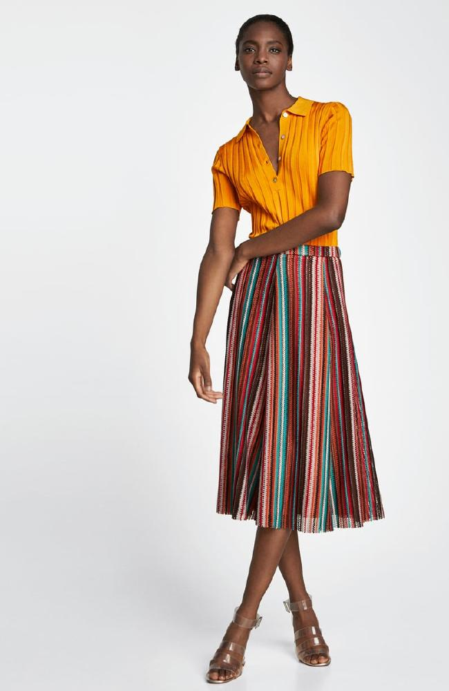 Skirt with multi-coloured stripes, $59.95.
