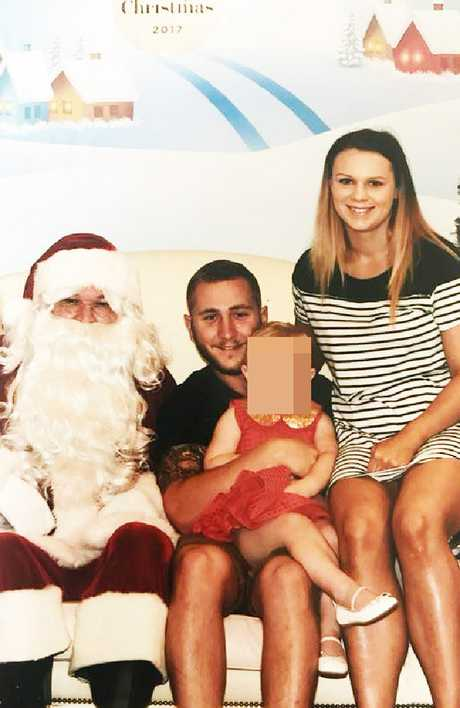 Friends called this image taken last Christmas of alleged ice ring couple Aidan Hartnett and Erin Clayton the 'cutest little family ever'.