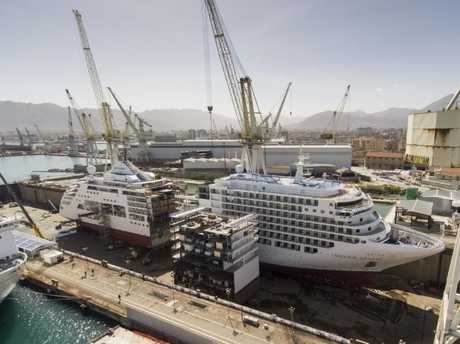 The ship was cut in half to add a new section to the middle. Picture: Silversea