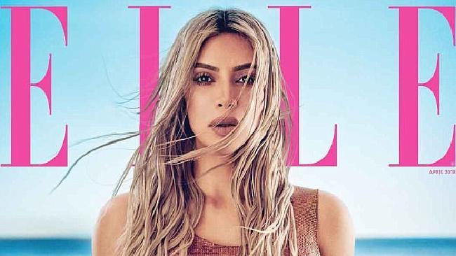 Kim Kardashian on the cover of Elle magazine. Picture: Elle