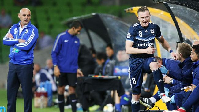 Besart Berisha of the Victory shows his frustration after being subbed