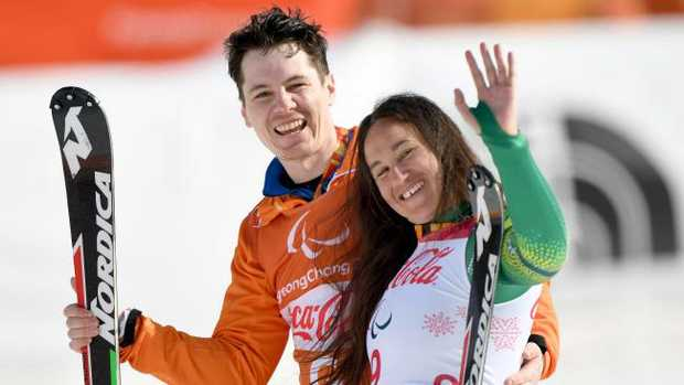 Melissa Perrine with her guide Christian Gieger after winning the bronze medal.