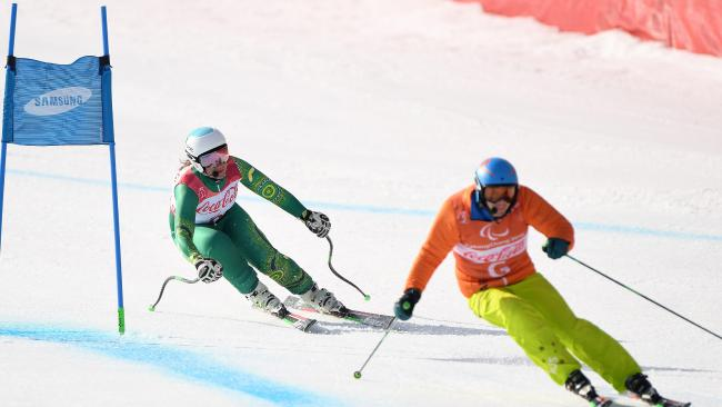 Perrine in action on the PyeongChang slopes.
