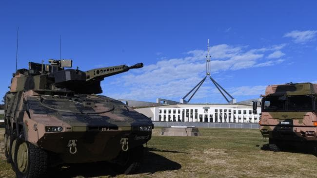 A Rheinmetall Boxer CRV outside Parliament House in Canberra