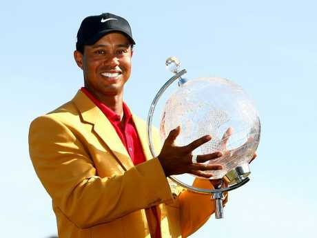 Tiger Woods after winning the 2009 Australian Masters.