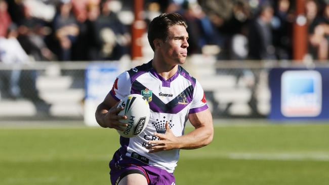 Storm's Brodie Croft. NRL trial game between Melbourne Storm and the Canterbury Bulldogs at the North Hobart Oval. Picture: MATHEW FARRELL