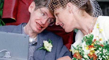 Professor Stephen Hawking with wife Elaine Mason after their wedding