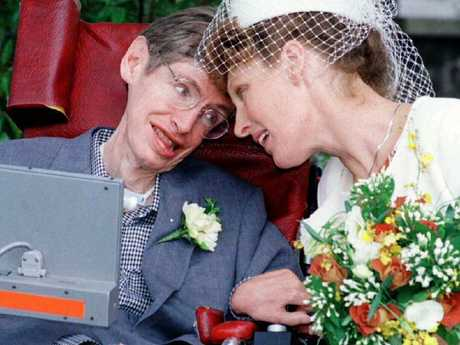 Professor Stephen Hawking with wife Elaine Mason after their wedding
