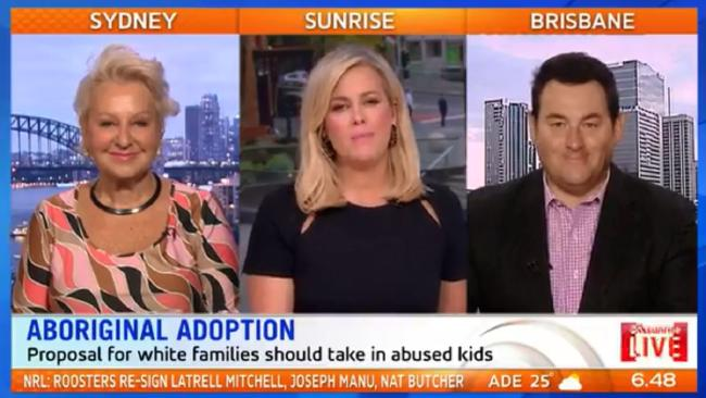 Sunrise host Sam Armytage, centre, has been criticised for her discussion on Aboriginal adoption with panellists Prue MacSween and Ben Davis.