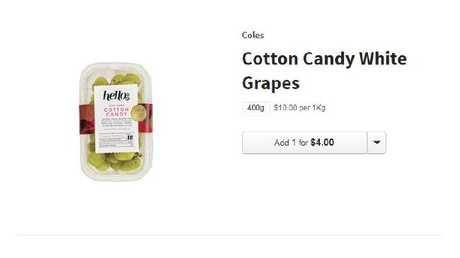 The Cotton Candy White Grapes are sold at Coles and Woolworths.