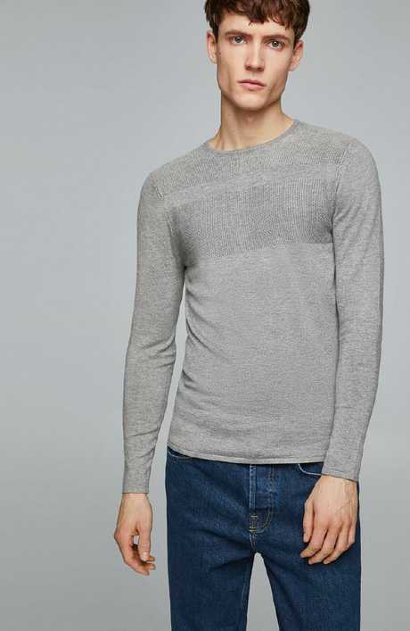 Sweater with textured weave stripes, $59.95.