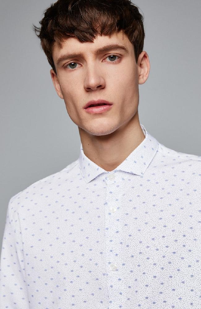 Printed poplin shirt, $59.95.