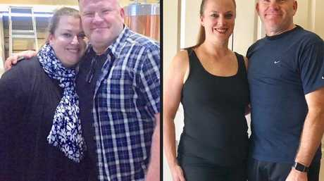 Before and after ... parents David and Tanya embarked on their weight-loss journey together.