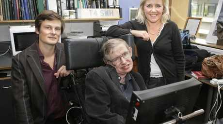 Professor Stephen Hawking, his daughter Lucy and Christophe Galfard in 2007. Picture: AFP