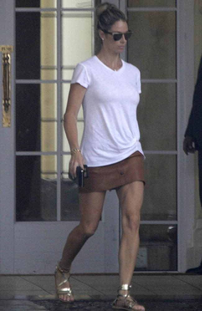 Candice Warner leaves the Southern Sun Cullinan Hotel yesterday.