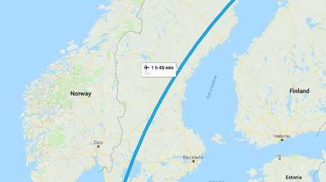 As you can see, Gothenburg, where the plane was supposed to go, is quite some distance from Lulea, where it went instead. Picture: Google Maps