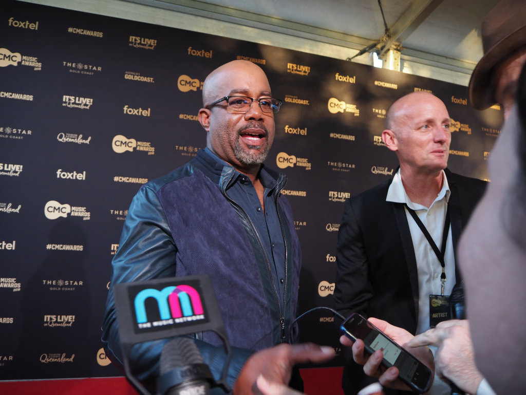 Darius Rucker speaks to media on the 2018 CMC Music Awards red carpet at The Star, Gold Coast.