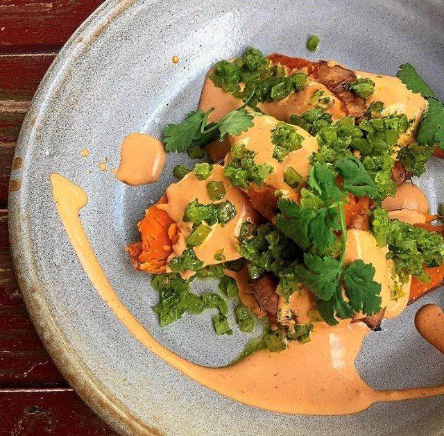 NEW MENU: Ben Achurch's salt roasted local sweet potato, smoked chill creme, coriander, onion and lime salsa dish.
