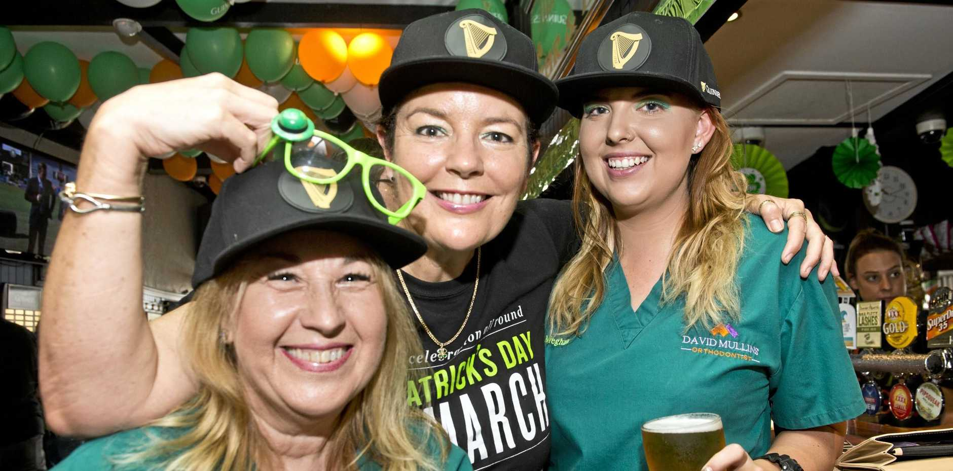 GO GREEN: Celebrating St Patrick's Day at the Irish Club Hotel are (from left) Karyn Iseppi, Katrina Archer and Meghan Sutton.