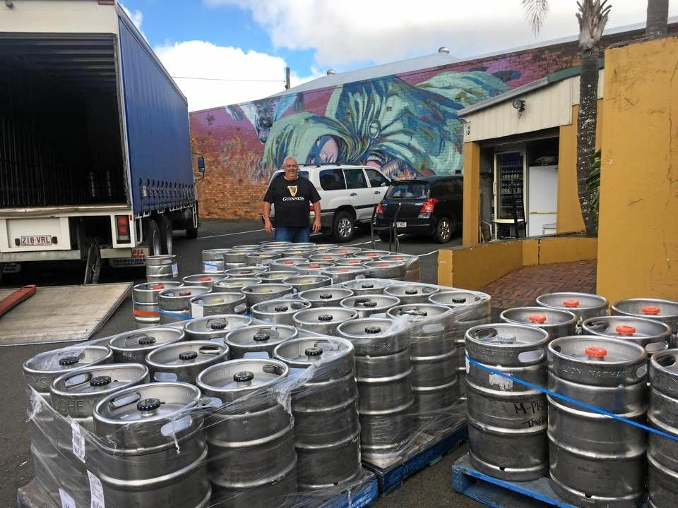 Cameron Mayes from the Irish Club Hotel with the kegs of Guinness ready for St Patrick's Day.