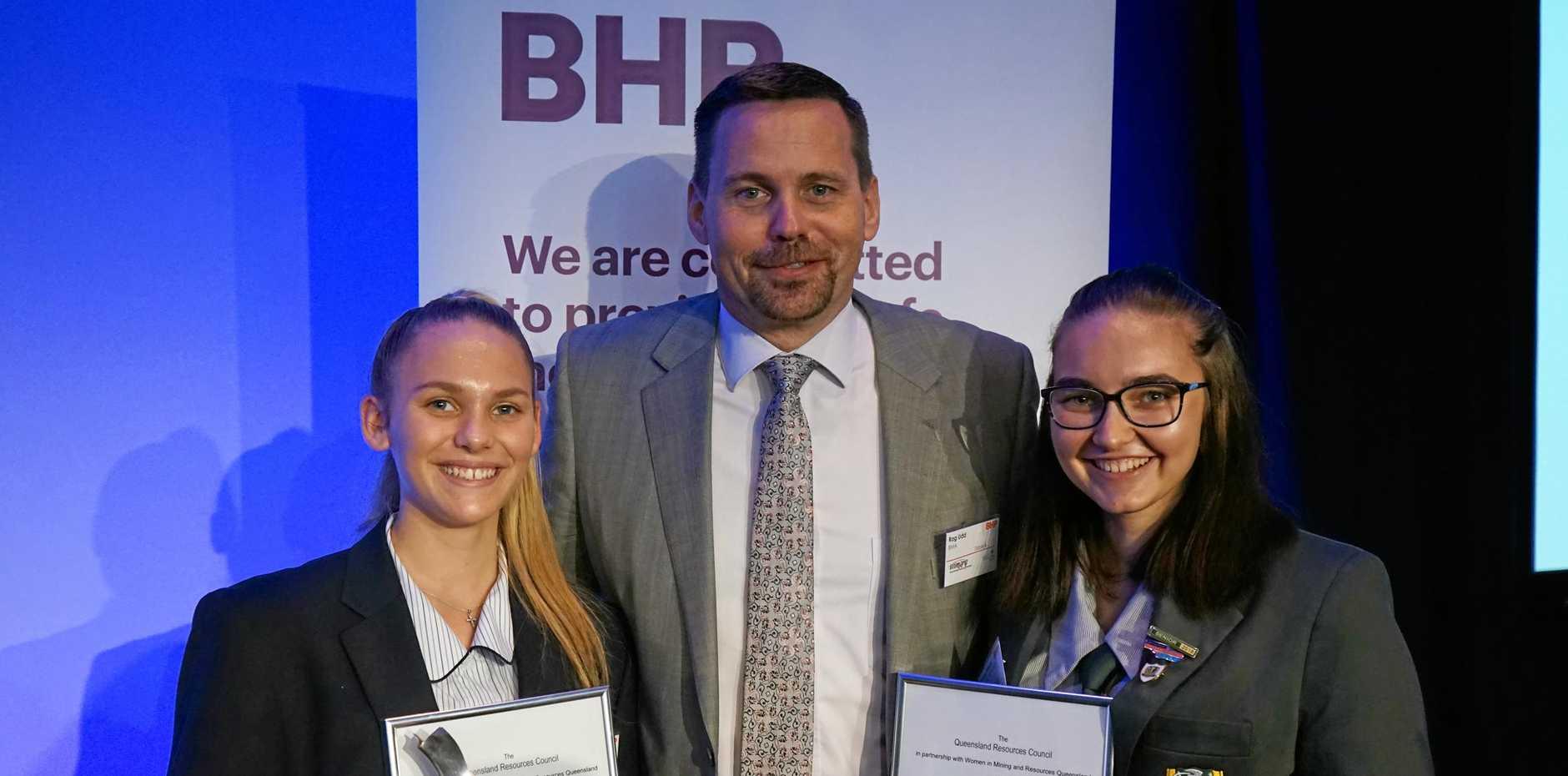 IN SPOTLIGHT: Caitlyn Barnes, Queensland Resource Council president Rag Udd and Rebecca Wheeler.