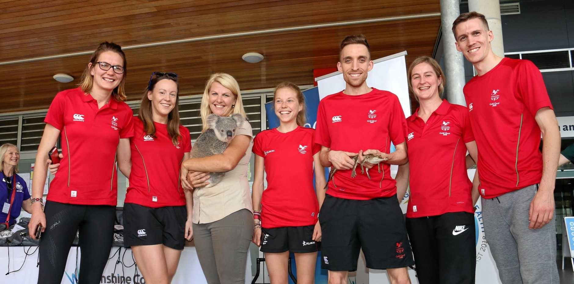 Team Wales officially arrived on the Sunshine Coast on Wednesday to begin preparations for the Commonwealth Games. They were welcomed with a traditional greeting before posing for photos with a Koala and baby crocodile.