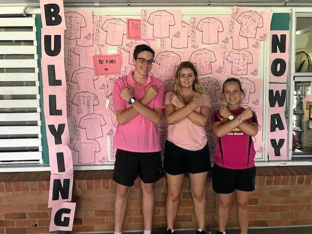School captains Darcy Larkin, Porsha Hancock and Tayla Goody at anti-bullying, Pink Shirt Day 2018 on Tuesday.