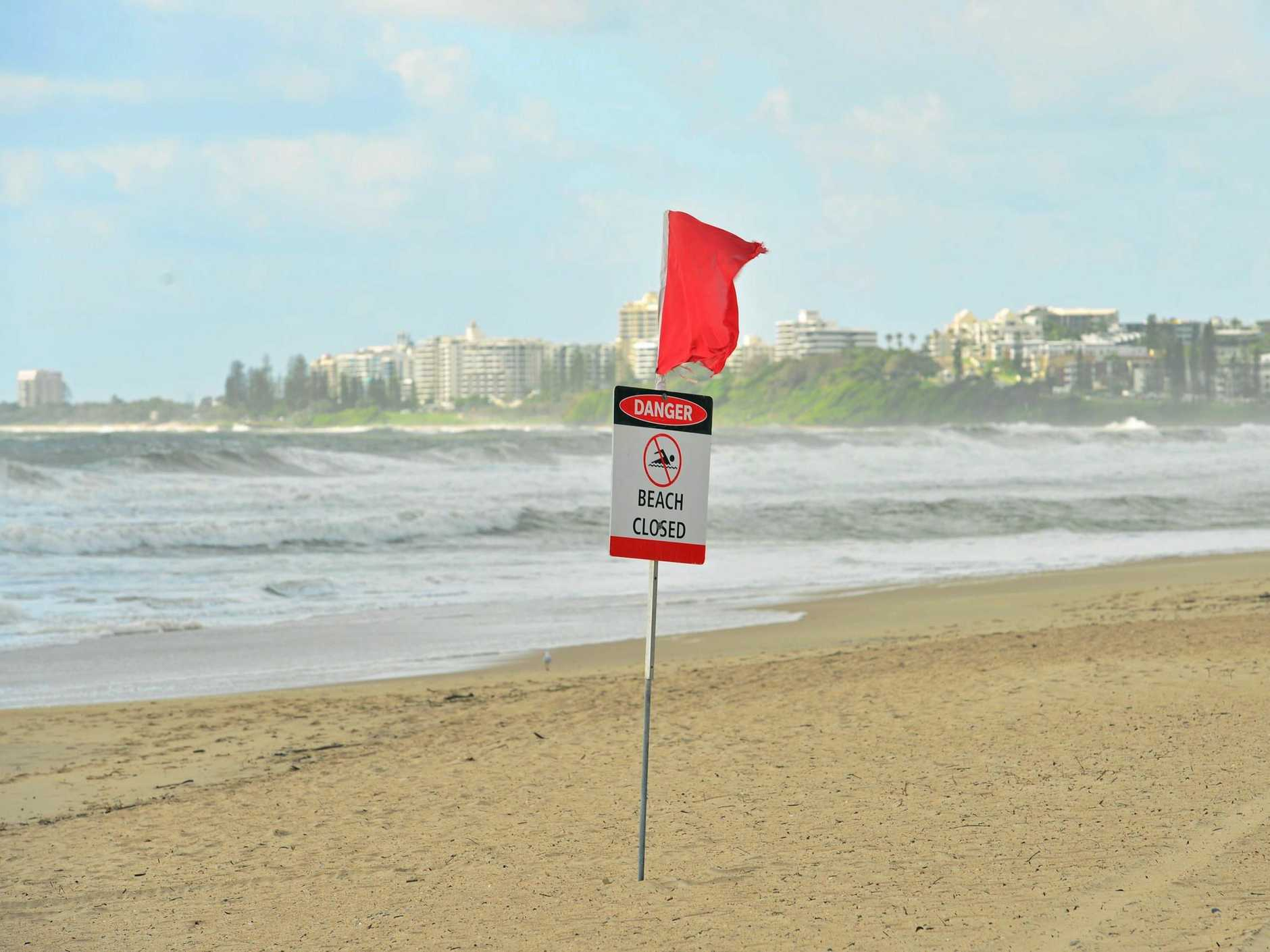 Maroochydore beach was closed as ex-Tropical Cyclone Linda sent strong winds and swell straight onto the exposed beach.