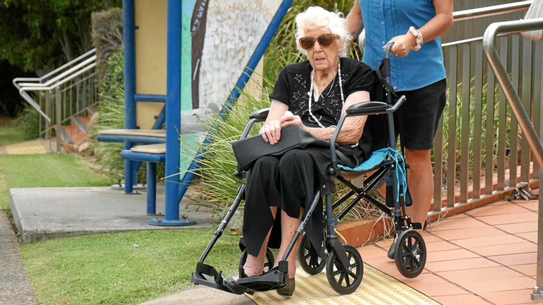 Mavis Lillian Brownsell, accused of arson, leaves Hervey Bay District Court.