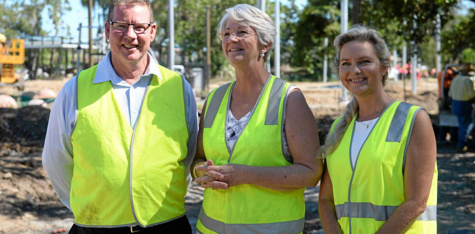Member for Rockhampton Barry O'Rourke, Mayor Margaret Strelow and Cr Cherie Rutherford at Kershaw Gardens.