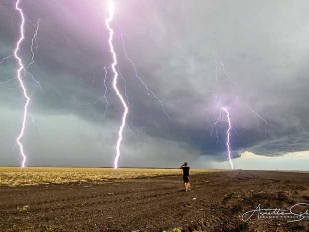 Jeff Higgins doing a live stream while lightning strikes around him.