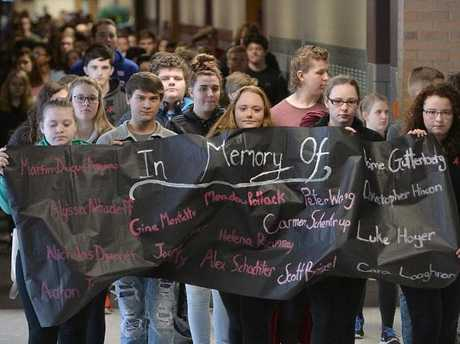 Students take part in a walkout at General McLane High School in Washington Township, Erie County, Pennsylvania.  Picture:  AP
