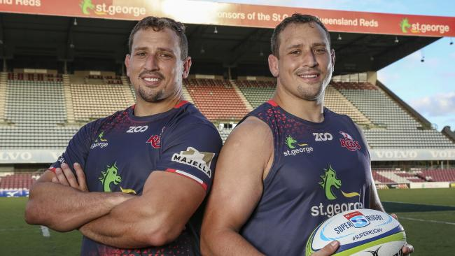 Reds twins and fellow props JP (left) and Ruan Smith. Picture: Brendan Hertel, QRU