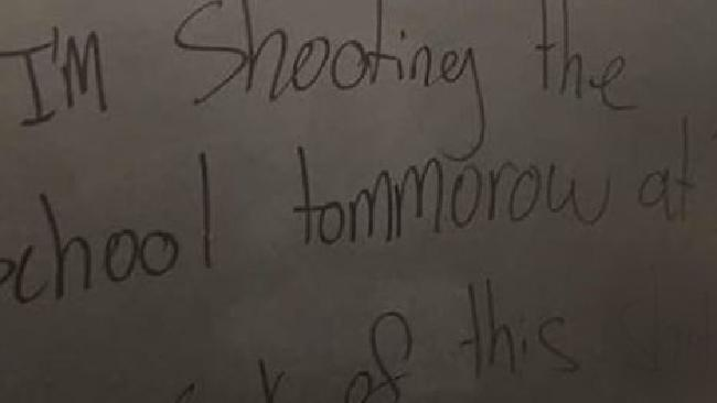 A disturbing message was found scrawled on the bathroom wall in a California high school.