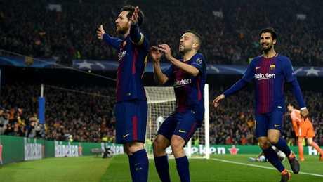 Lionel Messi of Barcelona celebrates.