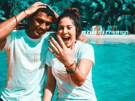 Danry Vasquez with his wife.