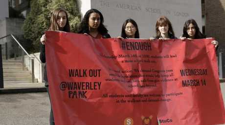 "Students, at the American School in London, took part in a ""walk out"" to protest gun violence. Picture: AP/Matt Dunham"