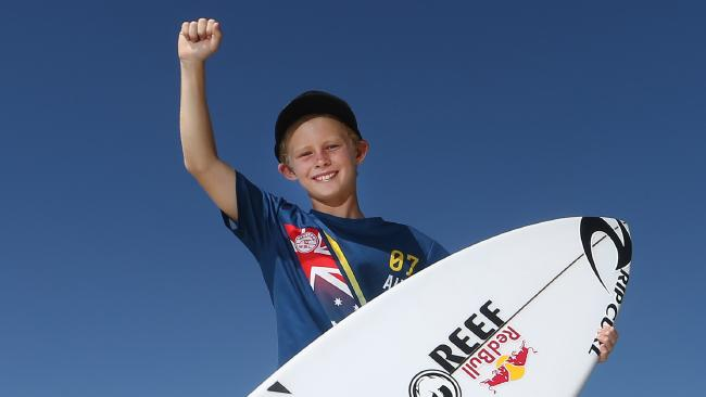 Ten-year-old Nate Johnson asked Mick Fanning for an autograph at the Quiksilver Pro and was given his board instead. Picture: Glenn Hampson