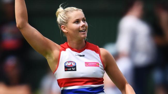 Katie Brennan of the Western Bulldogs celebrates a goal.