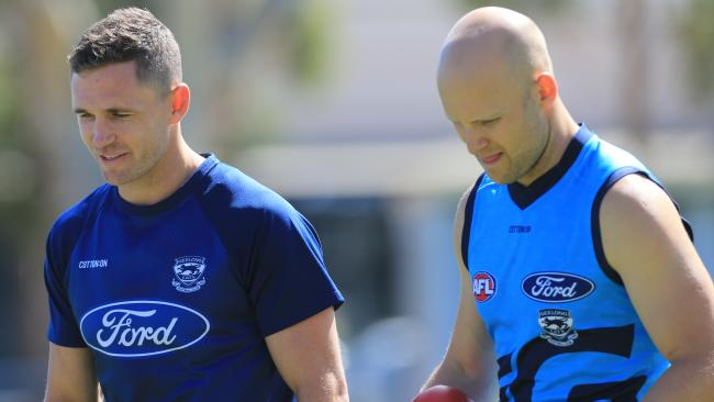 Joel Selwood and Gary Ablett on St Mary's. Picture: Peter Ristevski