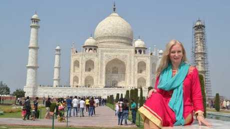 Carolyne at the Taj Mahal in India.