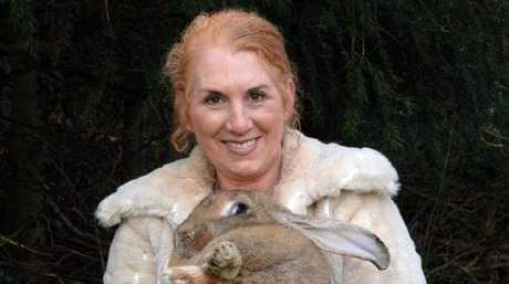 Breeder Annette Edwards with her rabbit.