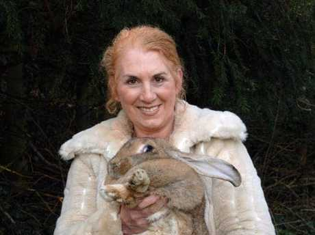 Breeder Annette Edwards with her rabbit.