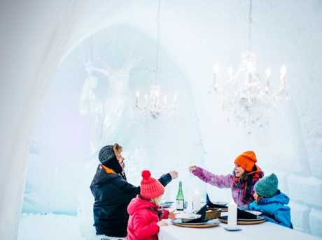 Snowman World Ice Restaurant in Llapland Finland. Despite the cold and weather, Finland has figured out how to convert wealth into wellbeing.
