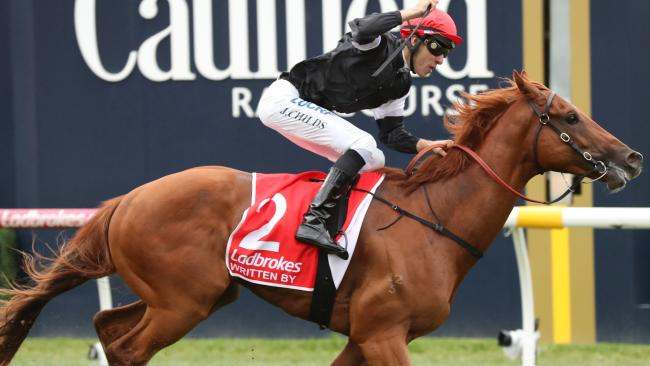 Written By ridden by Jordan Childs wins race 7, the Ladbrokes Blue Diamond Stakes during the Blue Diamond Stakes Day at Caulfield Racecourse in Melbourne, Saturday, February 24, 2018. (AAP Image/David Crosling) NO ARCHIVING, EDITORIAL USE ONLY
