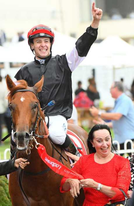 Jordan Childs takes in his Blue Diamond Stakes victory. Picture: Getty Images