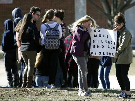 Students protest at a school in Maryland. Picture: AP/Patrick Semansky