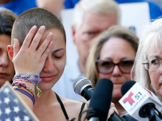 Marjory Stoneman Douglas High School student Emma Gonzalez reacts during her speech at a rally for gun control at the Broward County Federal Courthouse in Fort Lauderdale, Florida on February 17, 2018. Picture: AFP/ Rhona Wise