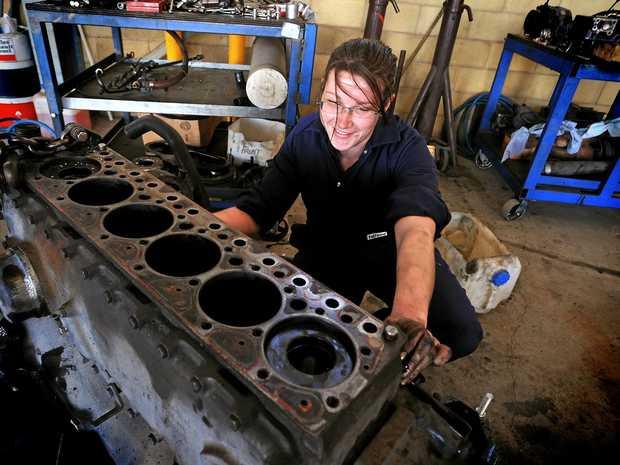 THE WORKSHOP: Apprentice diesel mechanic hard at work.