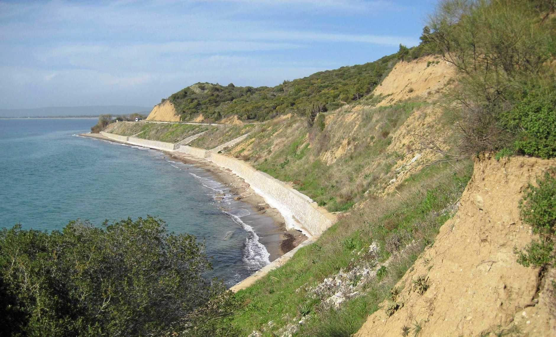 A general view of Anzac Cove on the Gallipoli Peninsula in Turkey, Friday, March 28, 2014. (AAP Image/Mike Osborne)
